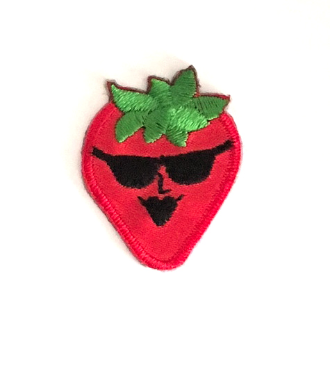 SHERRI  STRAWBERRY STICK-ON FABRIC PATCH