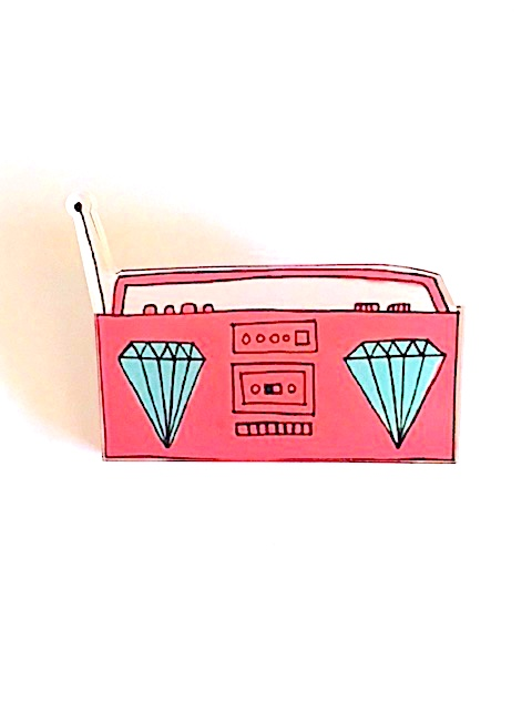 BOOM BOX ACRYLIC PIN