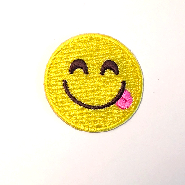 SMILING EMOJI STICK-ON FABRIC PATCH