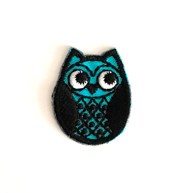 BLUE OSKAR OWL STICK-ON FABRIC PATCH