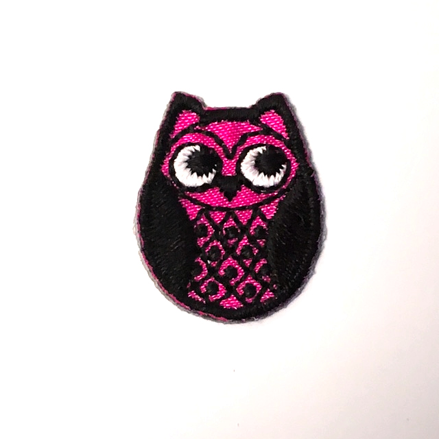 PINK OSKAR OWL STICK-ON FABRIC PATCH