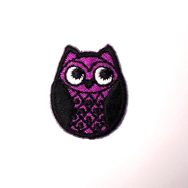 PURPLE OSKAR OWL STICK-ON FABRIC PATCH