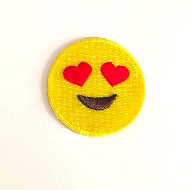 HEART EYE EMOJI STICK-ON FABRIC PATCH