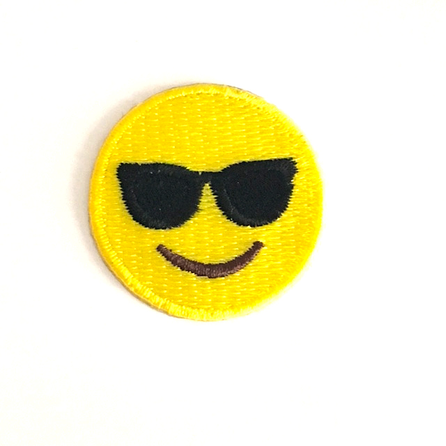 SUNGLASS EMOJI STICK-ON FABRIC PATCH