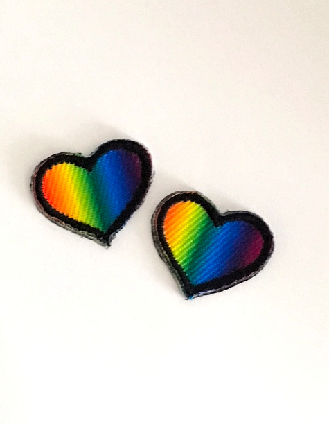 SMALL RAINBOW HEART STICK-ON FABRIC PATCHES