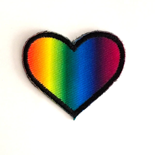 BIG RAINBOW HEART STICK-ON FABRIC PATCH